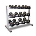 Body-Solid 3 Tier Rack & Bodypower 2,4,6,8,10,12.5 & 15Kg Rubber Hex Dumbbell Set